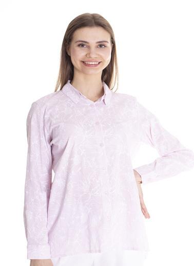 Stamina Desenli Uzun Kol Gömlek Pembe